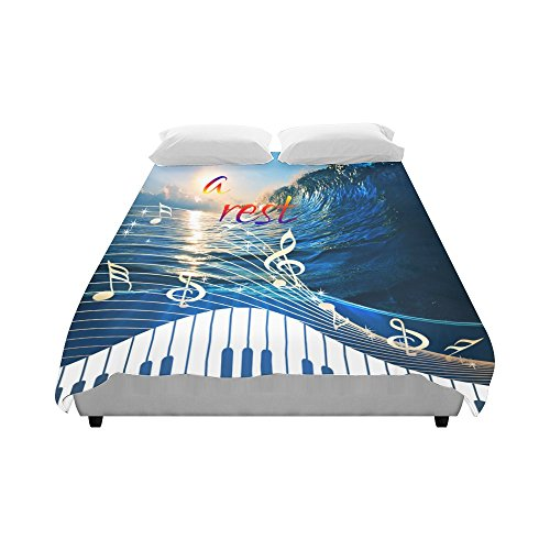 Artsadd Big surfing ocean wave Music Piano keyboard Duvet Cover Case Quilt Cover 86''x70''