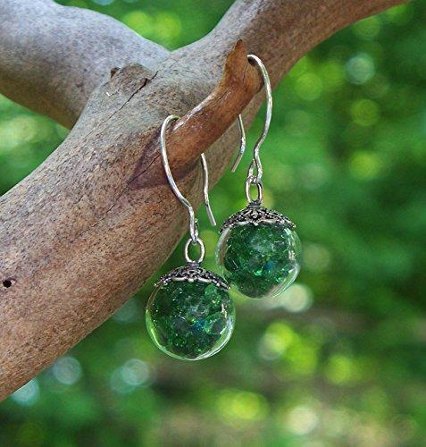 - Recycled Vintage 1960's Green Beer Bottle Glass Orb Earrings