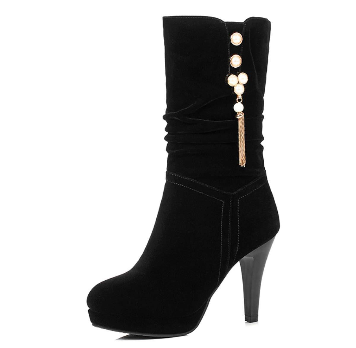DANDANJIE Damenstiefel High Heel Mid Calf Stiefel Stiefel Stiefel Winter Damen Perle Stiletto Absatzschuhe Schwarz 00daaf