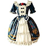 Partiss Womens Classic Beauty & Beast Printed Sweet Lolita Dress, S, Blue Green