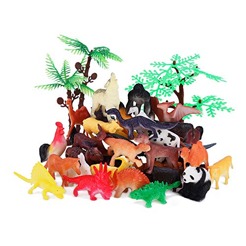 Animals Figure, 54Pcs Mini Jungle Animals Toys Set, ValeforToy Realistic Wild Vinyl Plastic Animal Learning Party Favors Toys For Boys Girls Kids Toddlers Forest Small Animals Playset Cupcake Topper