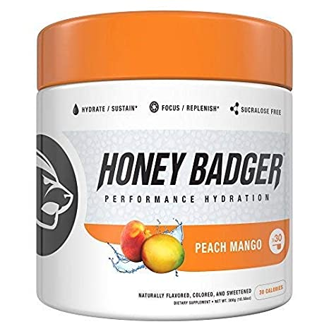 Honey Badger Performance Hydration Natural Post Workout Caffeine Free (Peach Mango, 30 Servings,