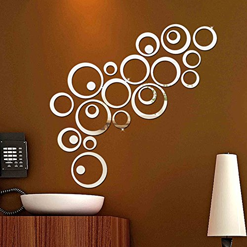 TRENTON Sweet Circles Mirror Style Removable Decal Art Wall Sticker Home Decor - (Trenton Mirror)