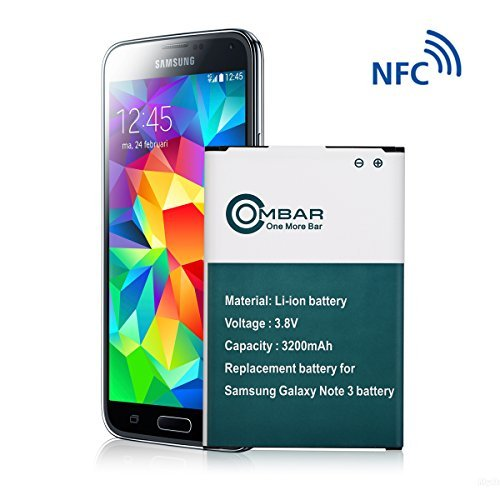 Ombar 3200mAh Replacement Battery Compatible with Samsung Galaxy Note 3, Fit N9000, N9005 LTE, at&T N900A, Verizon N900V, Sprint N900P, T-Mobile N900T, Google Wallet Capable, NFC【24 Month Warranty