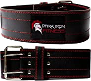 Dark Iron Fitness Genuine Leather Pro Weight Lifting Belt for Men and Women - Durable Comfortable and Adjustab