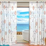 SEULIFE Window Sheer Curtain, Sport Basketball Star Animal Lamb Voile Curtain Drapes for Door Kitchen Living Room Bedroom 55x78 inches 2 Panels