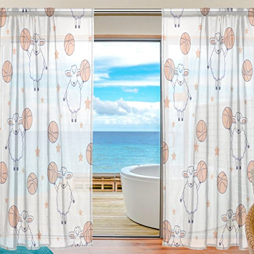 SEULIFE Window Sheer Curtain, Sport Basketball Star Animal Lamb Voile Curtain Drapes for Door Kitchen Living Room Bedroom 55x78 inches 2 Panels by SEULIFE