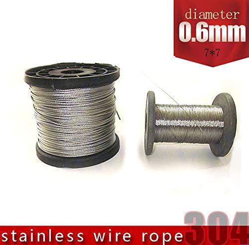 Without brand 100M 304 Edelstahl Drahtseil Alambre Kabel Weichere Angeln Hubseil 7X7 Struktur 0,6 mm Durchmesser (Größe : 0.6mm 100M)