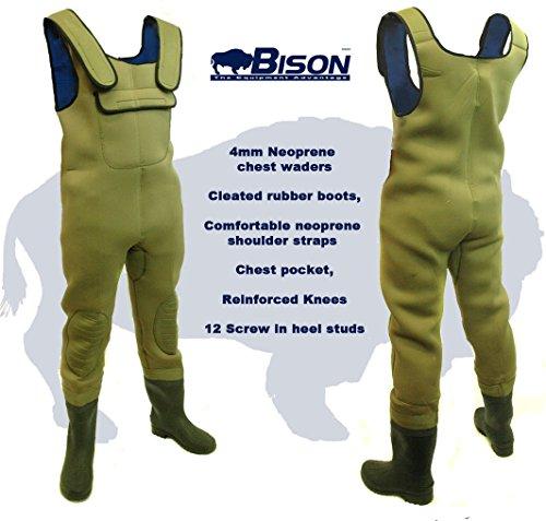 Bison Mono de neopreno de 4 mm con botas, todas las tallas, bolsillo para móvil, suela con tacos