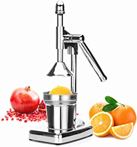 Stainless Steel Manual Fruit Squeezer Hand Press Juicer Heavy Duty Citrus Lemon Orange Pomegranate Press Juicer Extractor Portable for Commercial or Home Use, Kitchen Gadget (Silver)