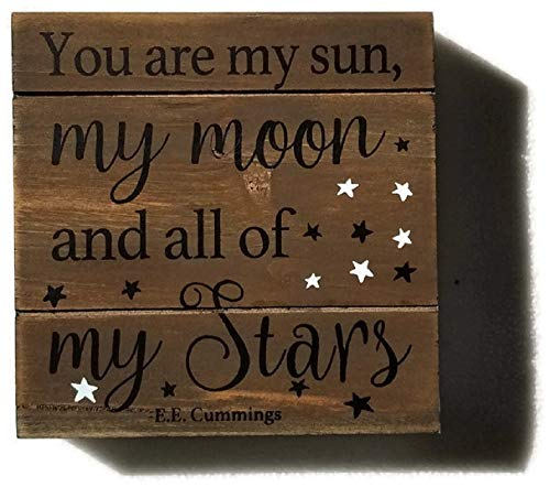 Star Photo Plaque - E. E. Cummings 'You are My Sun, My Moon, and All of My Stars' Picture Plaque Wall Art