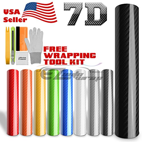 EZAUTOWRAP Free Tool Kit Premium Silver 7D Carbon Fiber High Gloss Car Vinyl Wrap Sticker Decal Film Sheet Bubble Free Air Release Technology 6D - 12