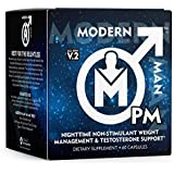 Modern Man PM Fat Burner - Sleep Aid, Weight Loss & Testosterone Booster for Men, Best Night Time Metabolism Booster & Caffei