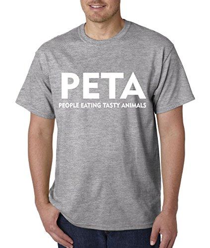 Animals People Tasty Eating (Trendy USA 608 - Unisex T-Shirt PETA People Eating Tasty Animals Parody Large Heather Grey)