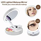 YIWANDIANZI Portable LED Makeup Mirror, Compact Folding 1X/10X Magnifying Vanity Mirror, Cosmetic Makeup Mirror for Bathroom/Table/Home Decorative