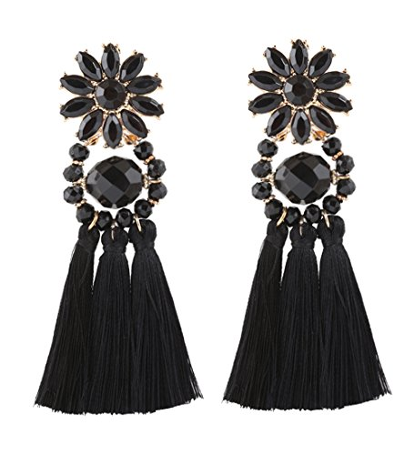 Boderier Bohemian Statement Thread Tassel Chandelier Drop Dangle Earrings with Cassandra Button Stud (Black Flower) (Button Earring Black)