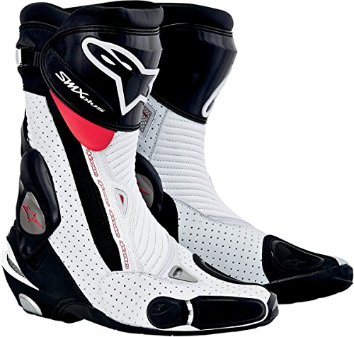 Alpinestars S-MX Plus Vented Men's Leather Street Motorcycle Boots - Black/White/Red / Size 41