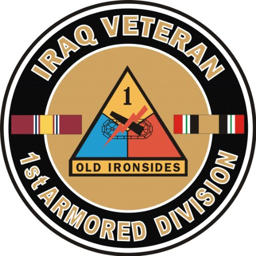 US Army Iraq Veteran 1st Armored Division Decal Sticker (Armored Division Decal)