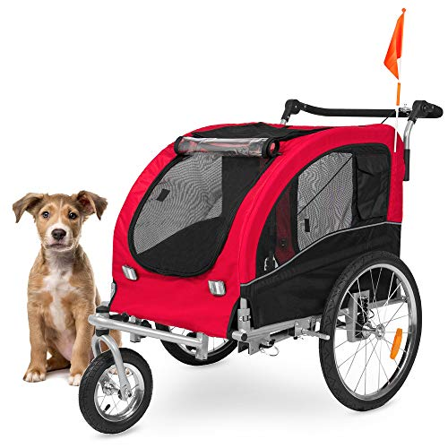 Best Choice Products 2-in-1 Pet Stroller and Trailer, Red, with Hitch, Suspension, Safety Flag, and Reflectors (Best Large Dog Stroller)