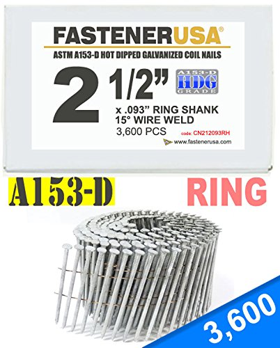 2 1/2'' x .093 RING A153-D HOT DIP COIL NAILS 15 DEGREE WIRE 3.6M Box