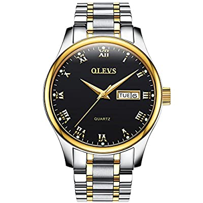 OLEVS Men Women Quartz Business Watch with Stainless Steel Band, Classic Waterproof Watches Roman Numeral Unique Calendar Date Window Wristwatch