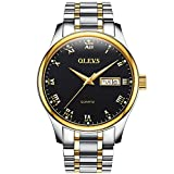 OLEVS Men Women Quartz Business Watch with Stainless Steel Band - Classic Waterproof Watches Roman Numeral Unique Calendar Date Window Wristwatch