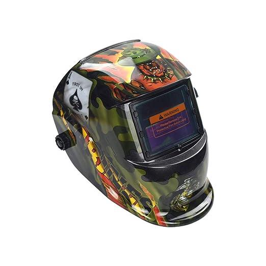 Casco De Soldadura Energía Solar Capa De Oscurecimiento Automático Soldador Máscara Cascos De Pulido Transpirable Con Rango De Sombra Ajustable: Amazon.es: ...