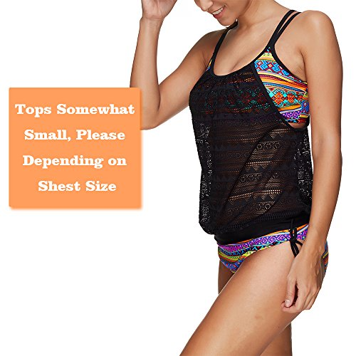 Sankill Mujer alineados hasta doble Tankini traje de baño de impresión floral 2 pcs traje de baño de playa Wicking Comfort Bikini Multicolor