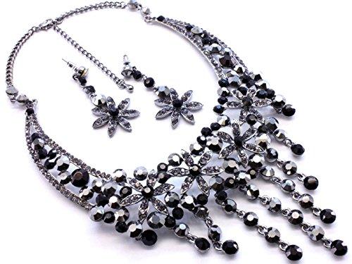 Noir Cristal Floral Ensemble collier et boucles d'oreille–Bijoux Fantaisie