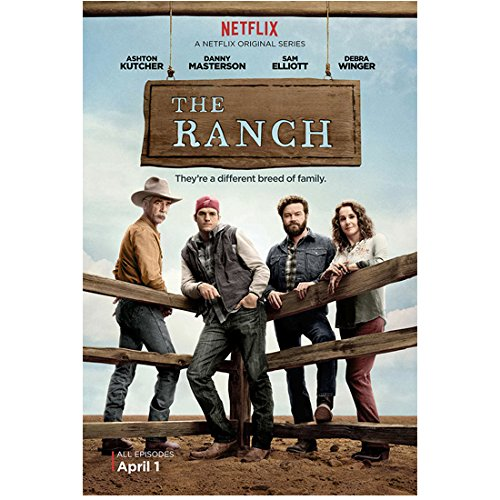 Ashton Kutcher 8 Inch x10 Inch Photograph That '70s Show Two and a Half Men The Ranch Standing at Fence w/Sam Elliott, Danny Masterson & Debra Winger Title Poster n