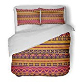 SanChic Duvet Cover Set Brown Africa Bright in Tribal Style Orange South Decorative Bedding Set with Pillow Sham Twin Size