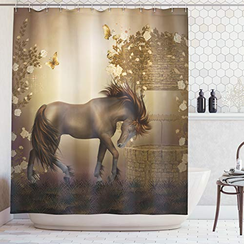 - Ambesonne Mystic House Decor Collection, Horse in Roses Garden Butterflies Fantasy Moonlight Romantic Artistic Illustration, Polyester Fabric Bathroom Shower Curtain, 70 Inches, Beige Brown