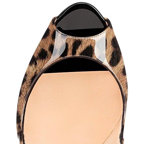 Peep Naisten Pumput Toe Slip 15 Koko 4 Meitä on Seksikäs Korkokengät Yli Fsj Leopardi Taivas Muoti 4HzxdHIq