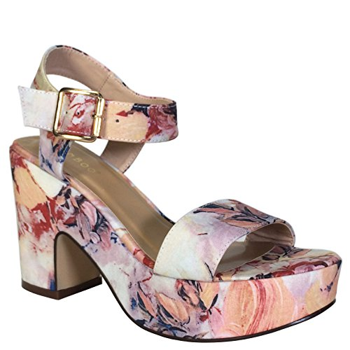 (BAMBOO Women's Chunky Heel Platform Sandal with Quarter Strap, Blush Floral Print Fabric, 8.5 B US)