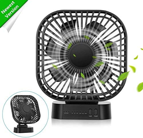COMLIFE 4000mAh Battery Operated Desk Fan with Magnet Base, Portable Fan with Timer, 3 speeds, 7 Blades, Super Quiet, Powered by USB or Rechargeable Battery, Small Personal Fan for Table Outdoor