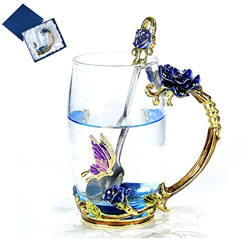 NBWUYUE Mother's Day Gifts For Mom Tea Cup Coffee Mug Cups Clear Glass With Spoon Set Unique Rose Flower Enamel Design Valentine's Day Birthday Decoration Wedding Gift (Box Blue Tall)