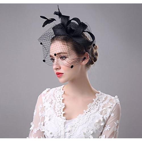 7d75b167ee25f YSJOY Women Dot Veil Mesh Fascinators Bow Feather Derby Hat Wedding Party  Hat