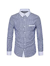 GONKOMA Men's Printed Polo Shirt Long Sleeve Slim Fit Business Dress Shirt Top