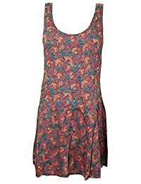 Bohemian Women Stylish Dresses Floral Print Sleeveless Cotton Hippie Summer Dress S