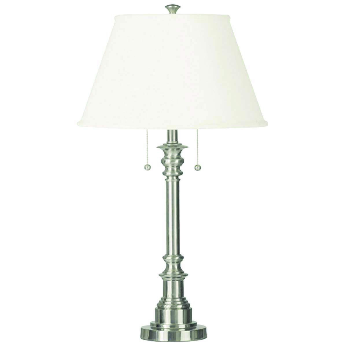 Kenroy Home Modern Brushed Steel Table Lamp, Dual On/Off Pull Chains, 30 Inch Height, White Natural Linen Shade