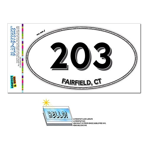 Area Code Oval Window Laminated Sticker 203 Connecticut CT Ansonia - Trumbull - - Trumbull Ct
