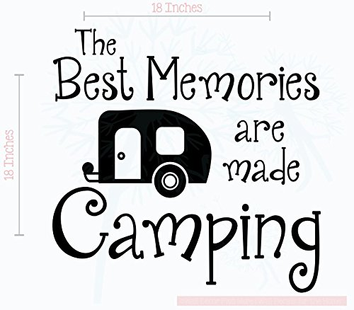 Best Memories Made Camping Vinyl Lettering RV Art Wall Sticker Decals Best Summer Family Quote 18x18-Inch Glossy Black