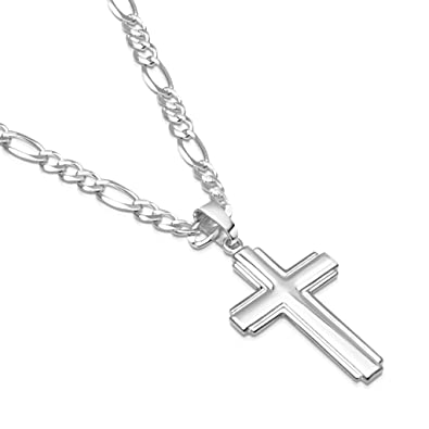 9d7695d4a562 Mens Sterling Silver Cross Pendant Figaro Chain Necklace Italian Made - 3mm  - 16 Inch