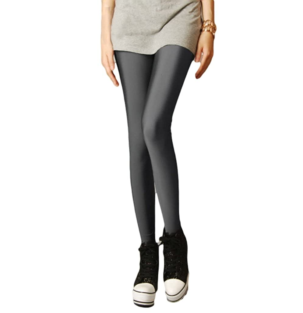c099c4af72548d Ro Rox Women's Shiny High Waist Leggings One Size US 2-8 Charcoal Grey at  Amazon Women's Clothing store: