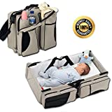 Boxum Baby 3 in 1 Portable Bassinet, Diaper Bag and Change Station with Fitted Sheet and Carabiner Keyring, Cream