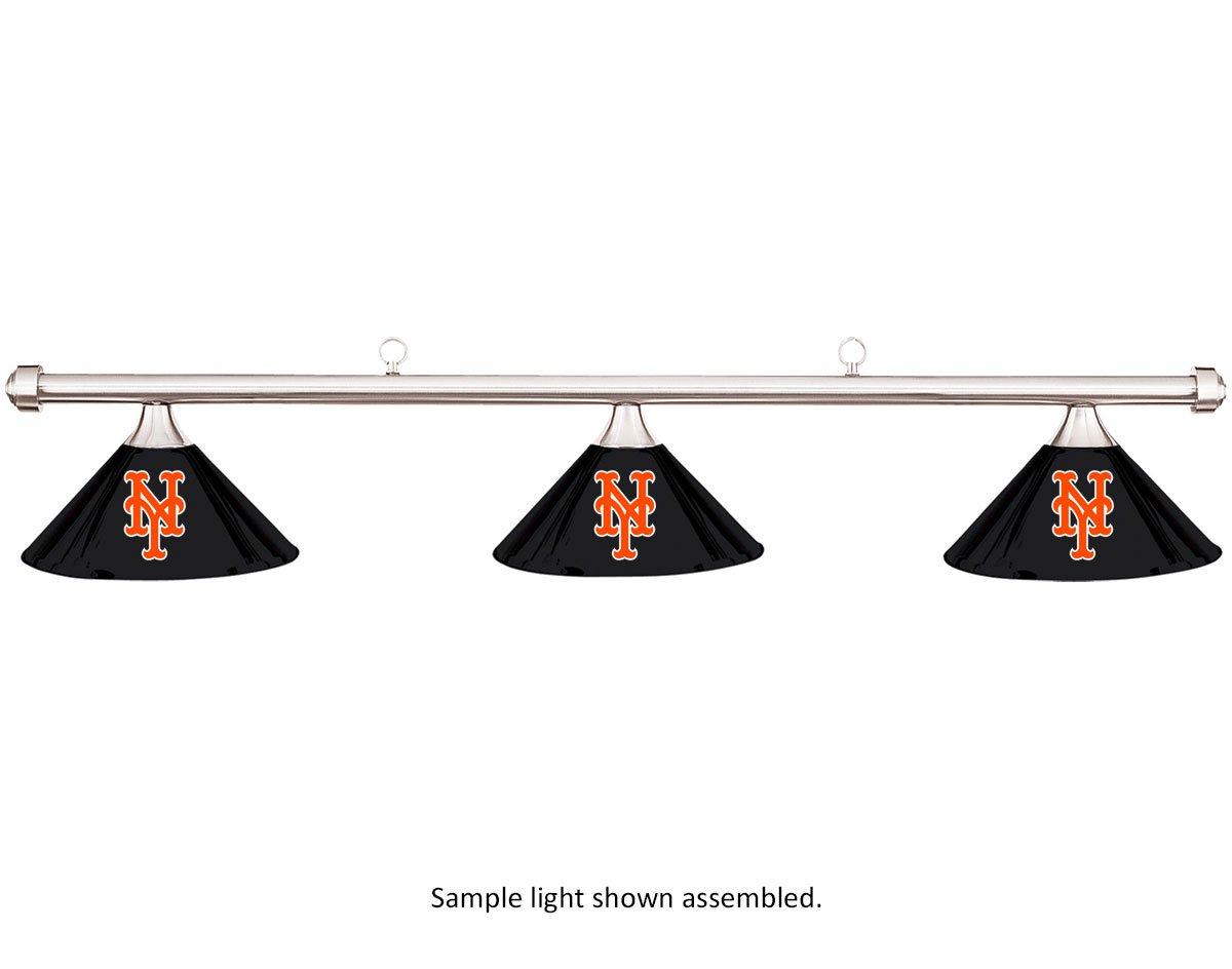 MLB ニューヨークメッツ ブラックメタルシェード&クロームバービリヤードプールテーブルライト B01KABGVCE