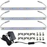 RGBSIGHT LED Under Cabinet Lighting kit Natural White (5000K-5500K), with Magnet! Easy to Install, Adsorbed on the Goods Shelves Strongly (3pcs 12 Inch long lighting kit)