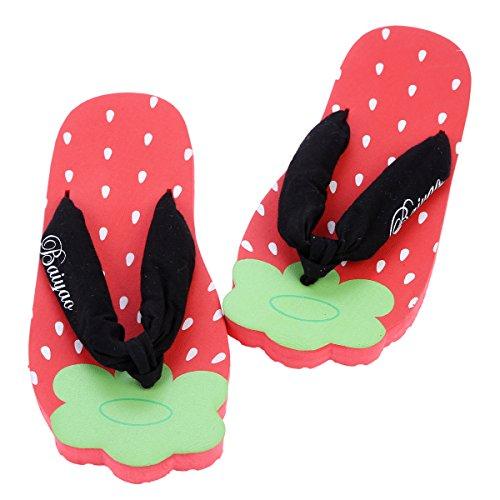 Damara Damen Hellfarbig Flip-Flops mit Kindlich Muster Rot