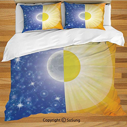 Apartment Decor Queen Size Bedding Duvet Cover Set,Split Design with Stars in The Sky and Sun Beams Light Solar Balance Image Decorative 3 Piece Bedding Set with 2 Pillow Shams,Blue Yellow