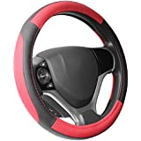 """SEG Direct Black and Red Microfiber Leather Steering Wheel Cover for Prius Civic 14"""" - 14.25"""""""